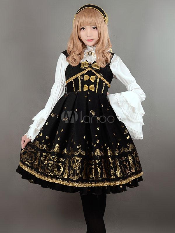 Buy Gothic Lolita Jumper Dress JSK Black Printed Lace Up Velvet Lolita Jumper Skirt for $194.99 in Milanoo store