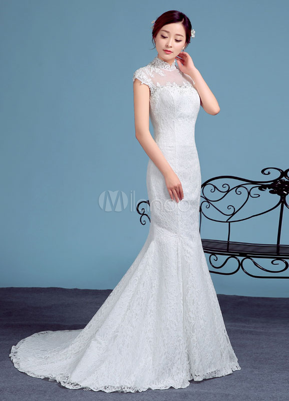 a6fd915c43 ... Tulle Wedding Dress Ivory High Collar Short Sleeve Mermaid Bridal Gown  Lace Beading Illusion Backless Chapel ...