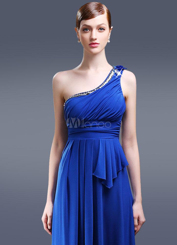 wholesale dealer 588b8 5db55 Blu perline peplo abito monospalla sera vestito