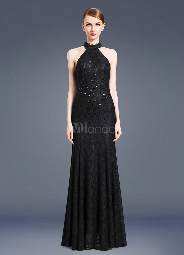schwarzes abendkleid r ckenfrei sexy neckholder beading mermaid bodenlanges partykleid. Black Bedroom Furniture Sets. Home Design Ideas