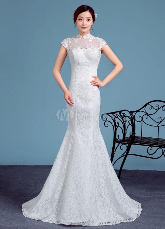 vestidos de novia con manga y cuello alto – vestidos de boda