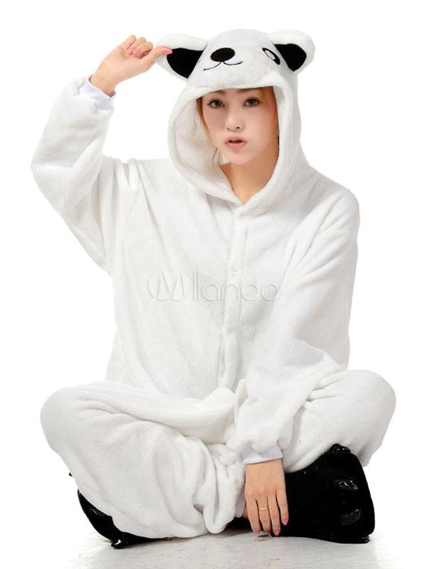 2701fe57b9 Pijamas de Kigurumi oso mono para ropa de dormir de franela adulto blanco  traje Animal Halloween ...