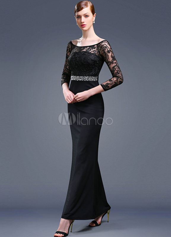 Buy Black Evening Dress Long Sleeves Mother Of The Bride Dress Mermaid Ankel-length Beading Sash Wedding Guest Dresses for $71.99 in Milanoo store
