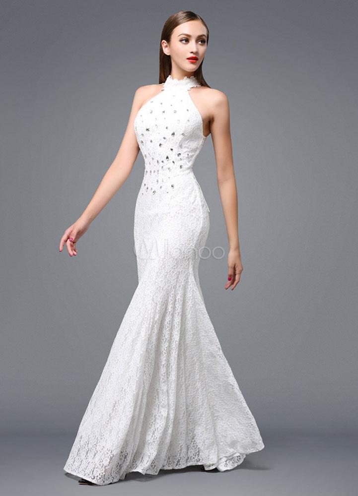 Beach Wedding Dress Lace Backless Evening Dress Halter Beading Floor-length Party Dress