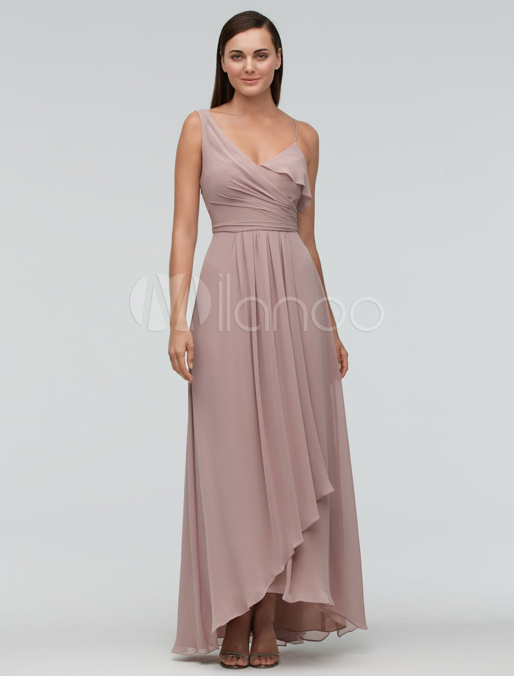 Buy Blush Bridesmaid Dress Chiffon Maxi Wedding Party Dress One-shoulder Asymmetrical A-line Evening Dress for $115.99 in Milanoo store