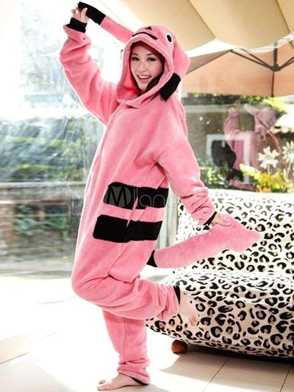 Kigurumi pijamas Pokemon mono franela rosa adultos traje - Milanoo.com