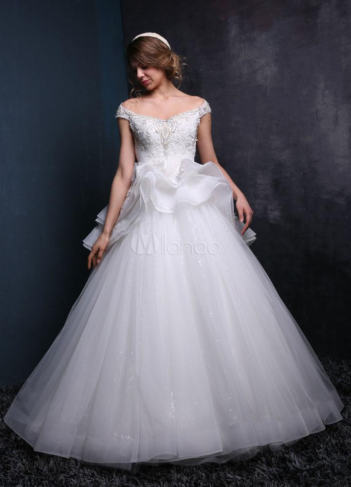 Prinzessin Hochzeitskleid Schößchen aus der Schulter Brautkleid Tüll ...