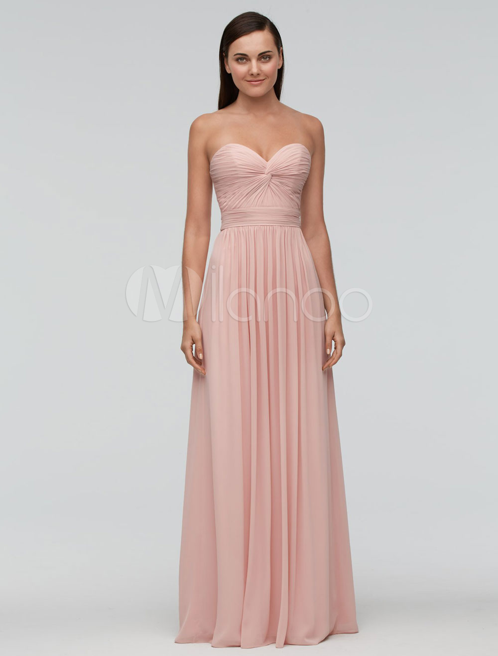 Blush Pink Bridesmaid Dresses Long Halter Chiffon Pleated Draped ...