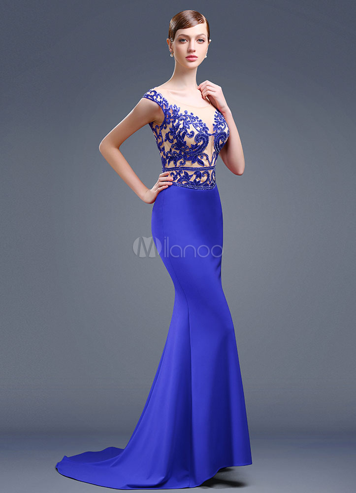 Embroideries Evening Dress Mermaid Backless Court Train Beading Sexy Party Dress