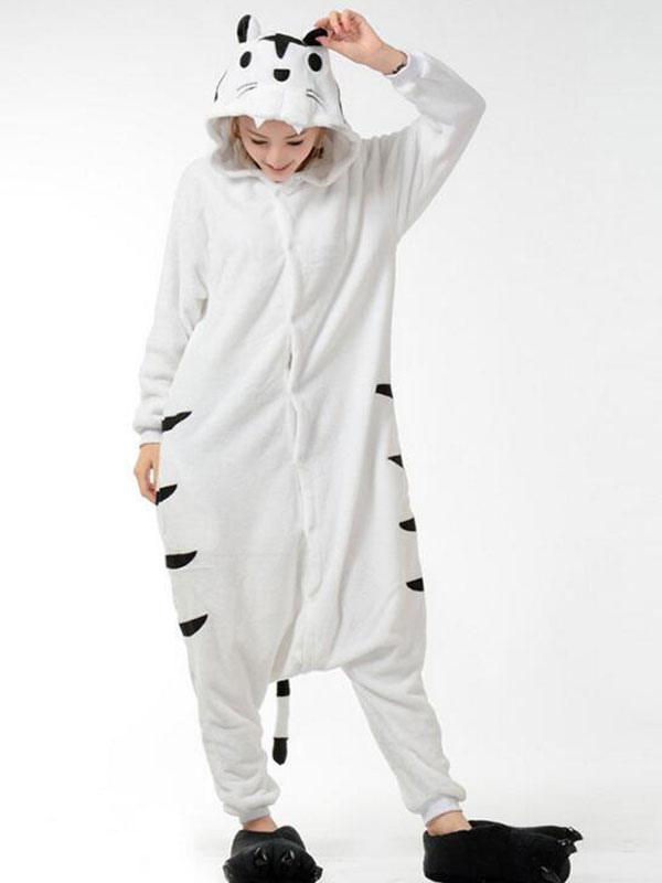 950e73f4ee Kigurumi pijamas mono franela blanca ropa de dormir animales adultos traje  del tigre Halloween-No ...