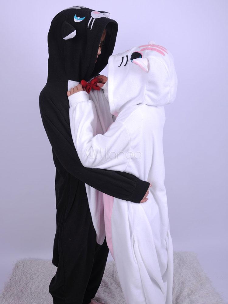Kigurumi Pijamas Gato Negro Mono Franela Traje Animal Para