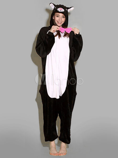 Kigurumi pijamas gato negro mono franela traje Animal para pareja  Halloween-No.1 ... e74904a3f0d