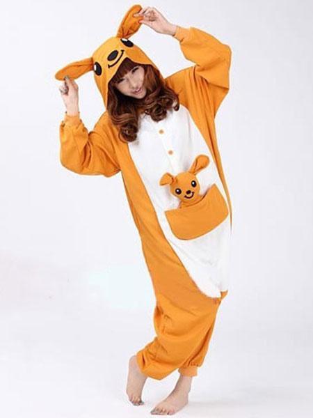 ... Взрослых kigurumi Onesie пижама желтый кенгуру мило фланелевой животных  костюм Хэллоуин-No.4 ... 8ef52ef2e54a9