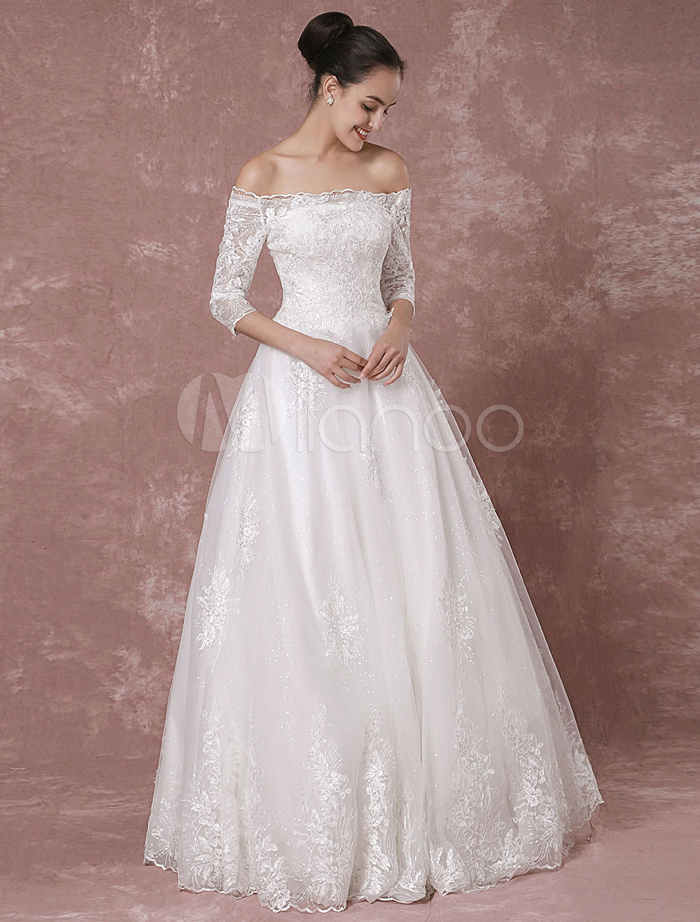 mariage robe sequin off the shoulder tulle demi manches