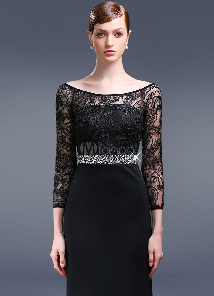 schwarzes kleid zur hochzeit als gast elegante silber spitze mutter der braut kleider mit. Black Bedroom Furniture Sets. Home Design Ideas