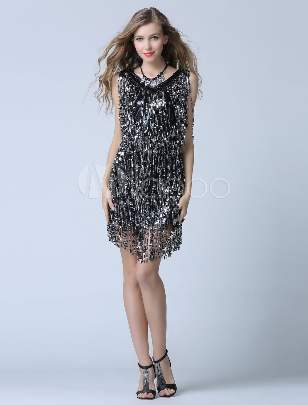 32f751fe479 ... Black Sequin Cocktail Dress Sheath Short Fringe Party Dress Wedding  Guest Dress-No.7. 12. 40%OFF. Color Black