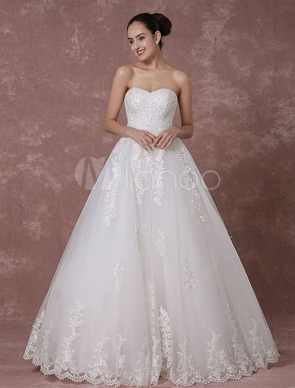 Lace Wedding Dress Sweetheart Strapless Backless Bridal Gown A-line Beading Luxury Bridal Dress