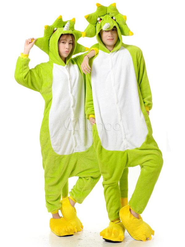 metà fuori bf1f3 7cd7a Kigurumi pigiama tuta intera mostro verde per adulti flanella Anime animali  coppia Costume pigiameria