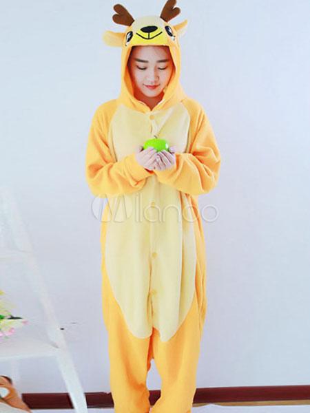 67e67d37dbff ... Kigurumi Pajama Reindeer Onesie Yellow Flannel Christmas Animal Costume  Halloween-No.2 ...