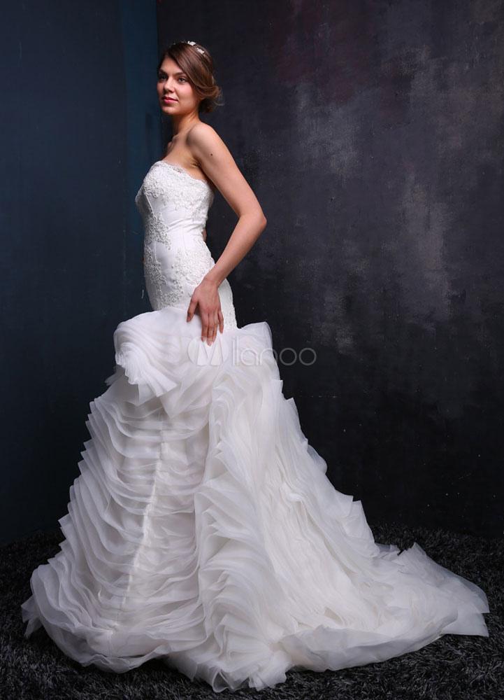 sirena novia vestido encaje vestido de novia volantes plisado blanco