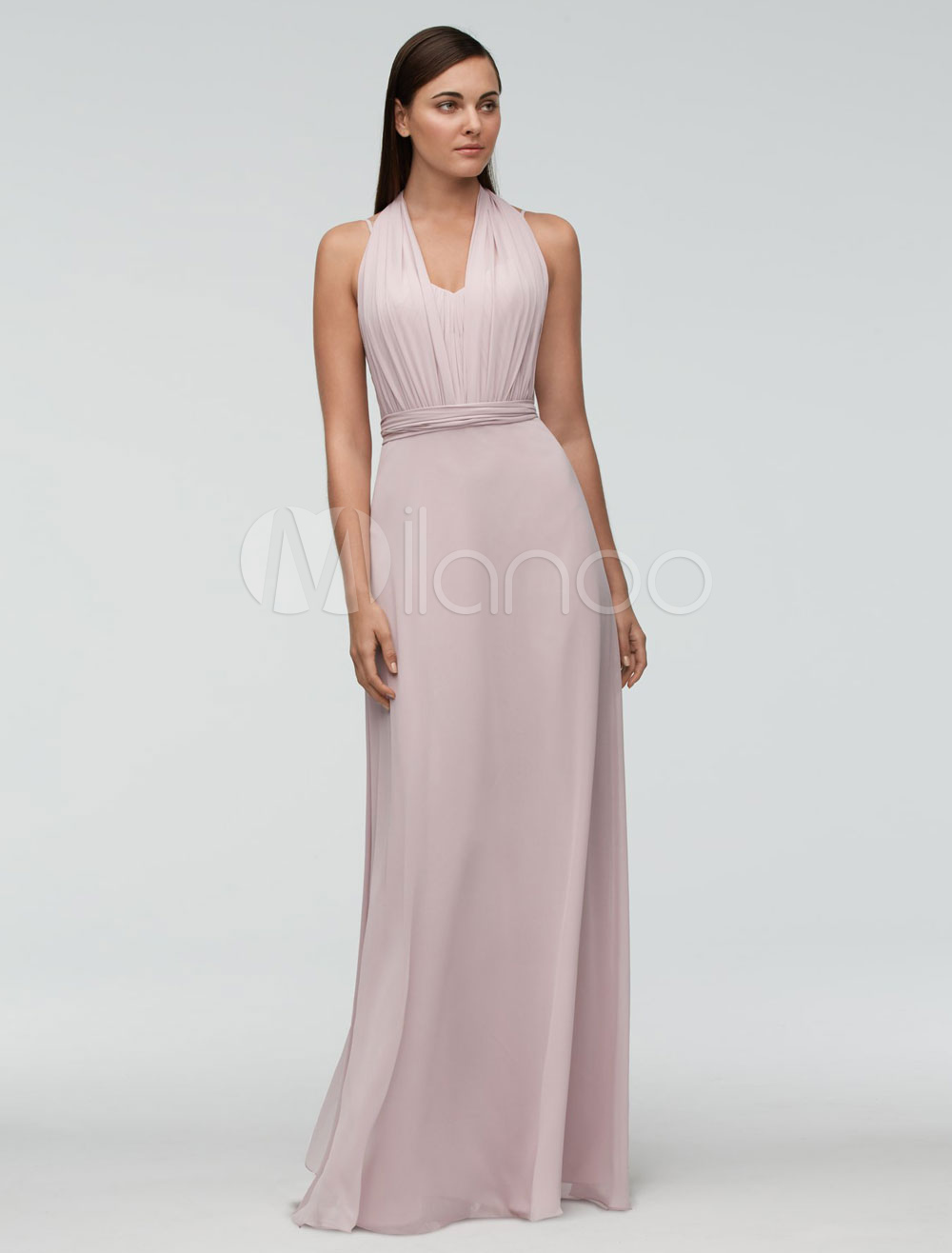Dusty Pink Bridesmaid Dress Chiffon Floor Length Wedding Party Dress Halter Backless A Line Occasion Dress