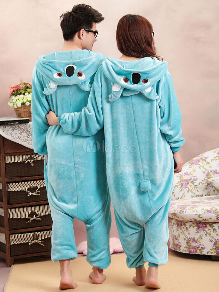 los mejores precios nueva precios más bajos entrega gratis Kigurumi pijamas Koala azul mono franela traje Animal para pareja Halloween