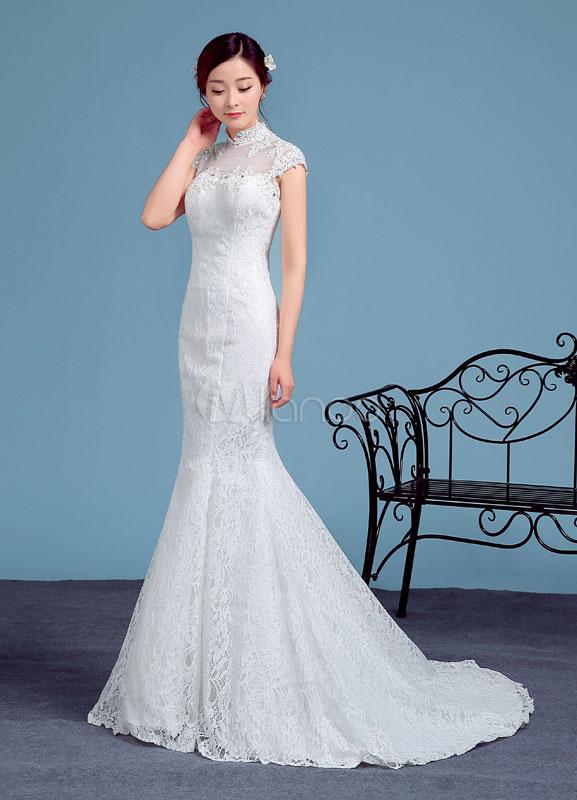 Tulle Wedding Dress Ivory High Collar Short Sleeve Mermaid Bridal ...