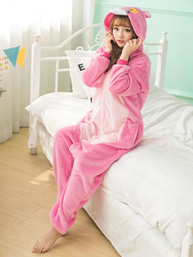 Pijamas adulto mono de Animal Kigurumi traje Pantera Rosa franela ...