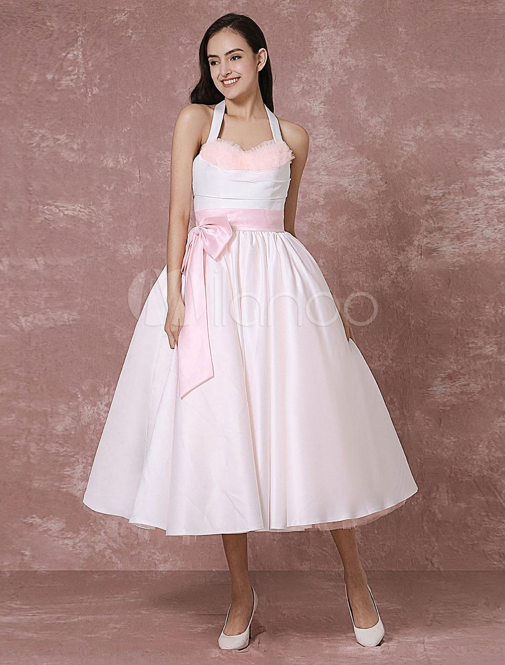 vintage wedding dress pink tulle short bridal gown halter satin ribbon sash ball gown tea length. Black Bedroom Furniture Sets. Home Design Ideas