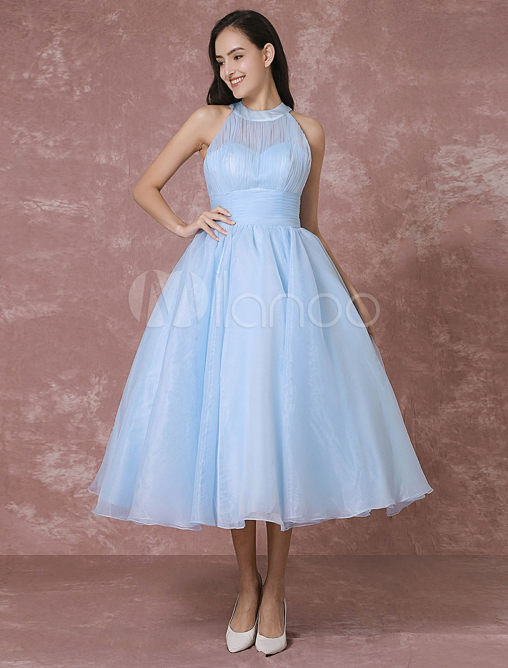 Blue Wedding Dress Short Tulle Vintage