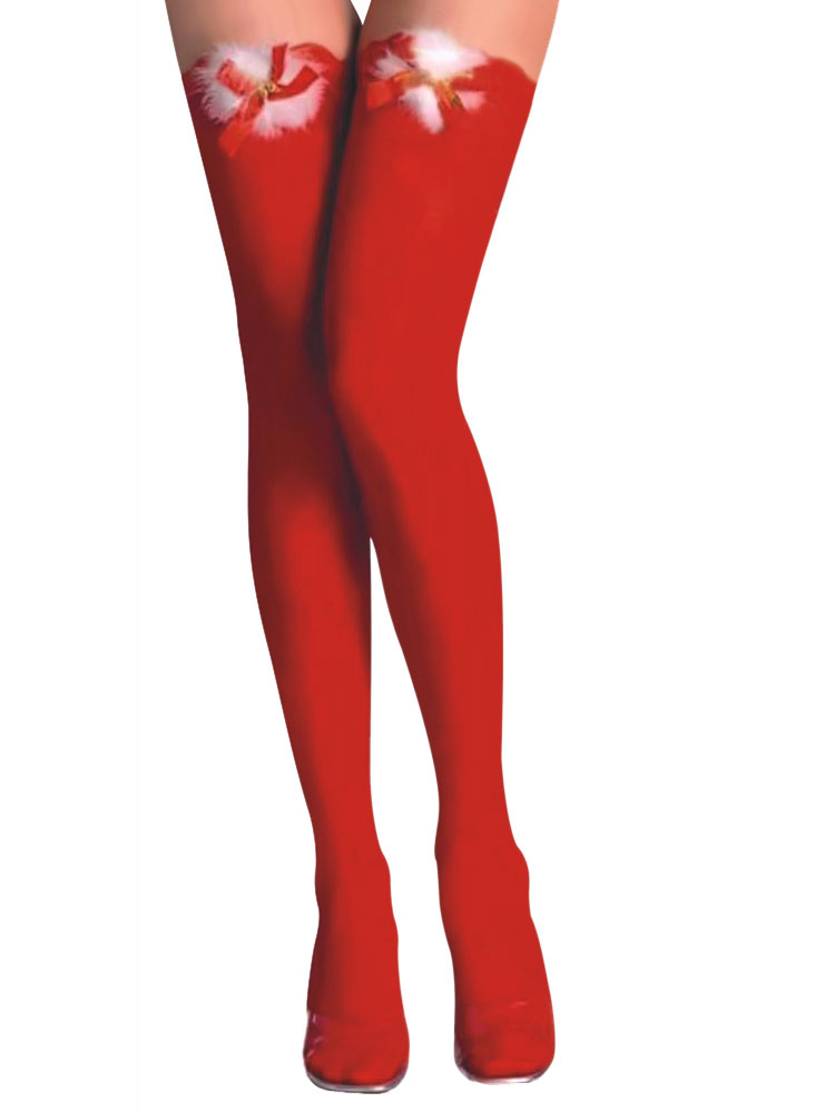 4db12acc7ac Sexy Christmas Costume Ture Red Cheap Christmas Stockings Nylon Knee High  Socks Halloween-No.