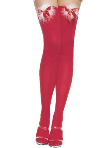 Buy Sexy Christmas Costume Ture Red Cheap Christmas Stockings Nylon Knee High Socks Halloween for $5.39 in Milanoo store