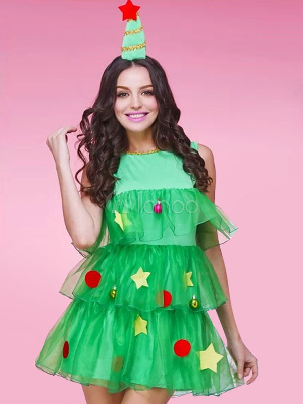 fe6702c215 Christmas Costume Dress Women s Green Ruffle Tiered Sleeveless A Line Dress  With Headgear Halloween-No