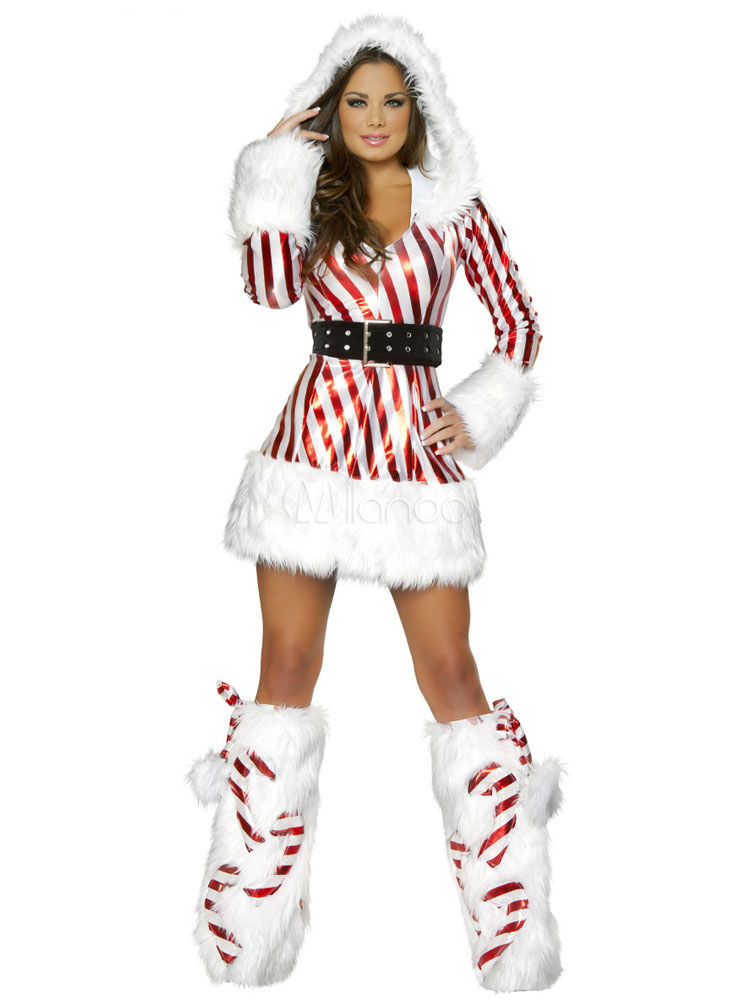 Buy Sexy Christmas Costume Two Tone Hooded Long Sleeve Slim Fit Mini Dress With Boot Covers Halloween for $29.69 in Milanoo store