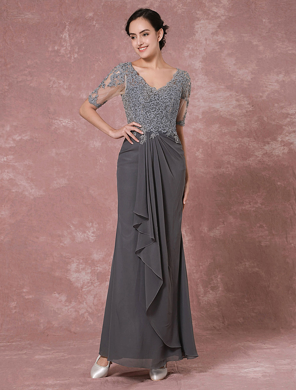 Maxi Lace Mother Dress Grey Chiffon Evening Dress Sheath V-back Beading Wedding Party Dress Wedding Guest Dress