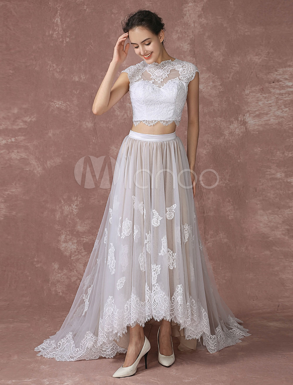 Crop top lace wedding dress high low tulle bridal gown for Best lace wedding dresses