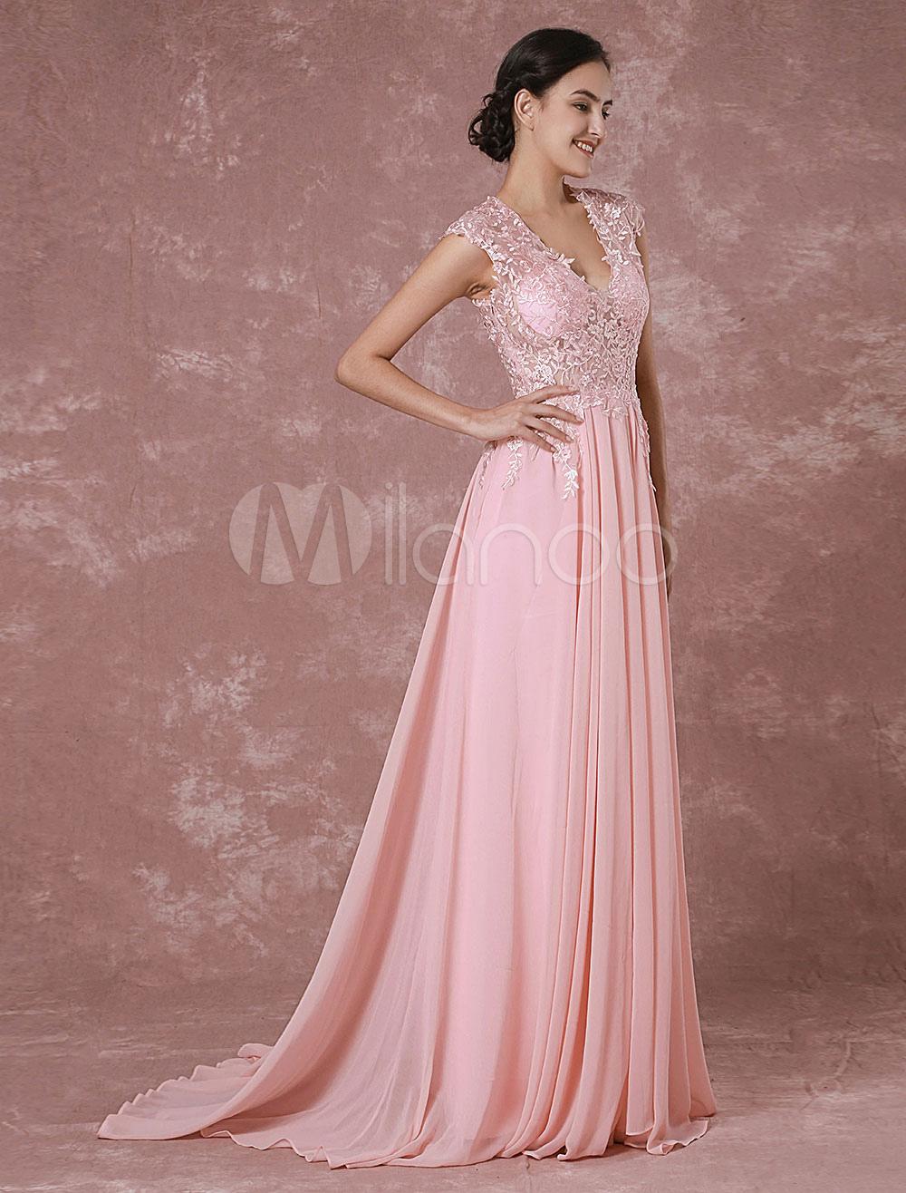 vestidos de gala rosado ligero con cuello en V sin mangas de encaje ...