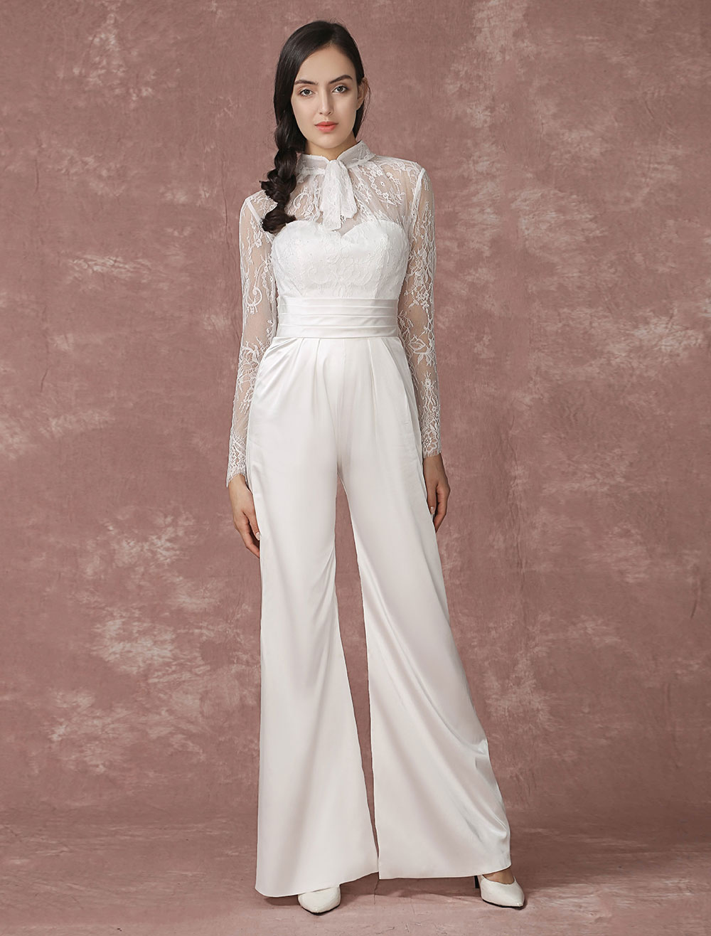 Lace wedding jumpsuits long sleeves bridal wedding pants - Jumpsuit hochzeit ...