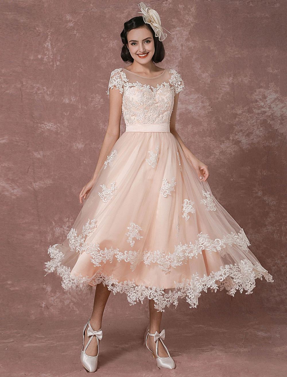 Wedding dress short vintage bridal dress backless illusion lace applique tea length a line - Couleur rose clair ...