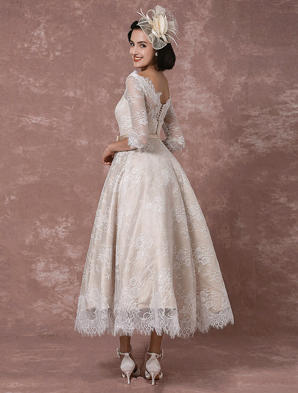 Lace Wedding Dress Vintage Bateau Champagne Half Sleeves Bridal Gown A Line Backless Tea Length Sash Reception Milanoo