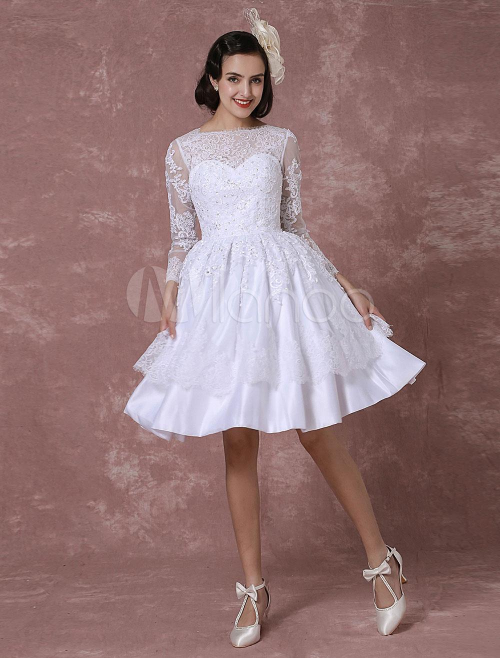 Kurzes Hochzeitskleid Vintage Brautkleid Spitze Applique lange Ärmel ...