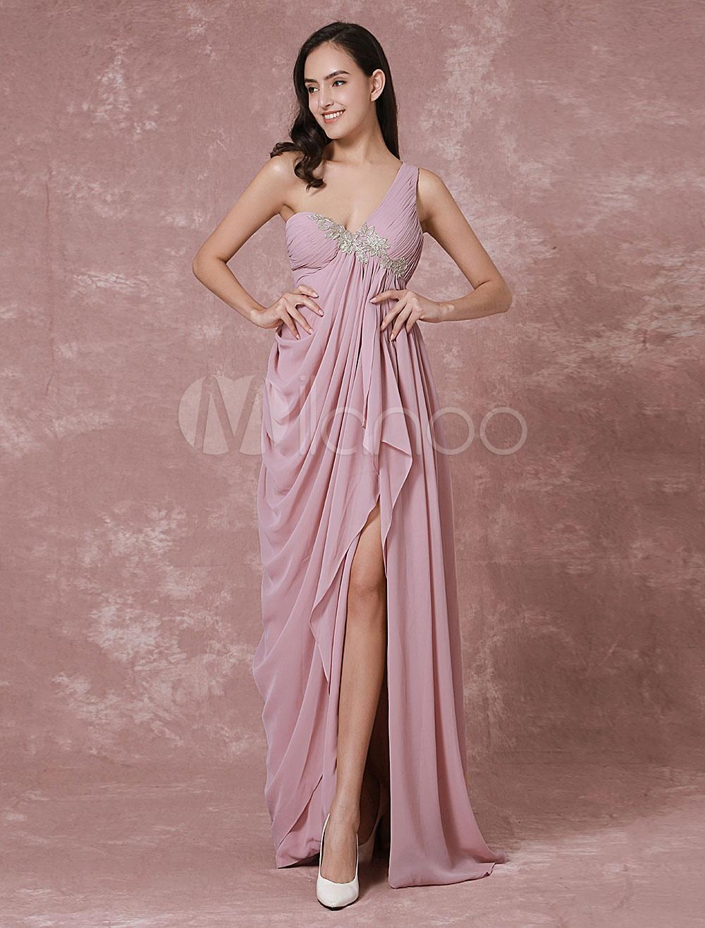 Chiffon Evening Dress Sexy Split One Shoulder Red Carpet Dress Maxi Backless Lace Applique Party Dress