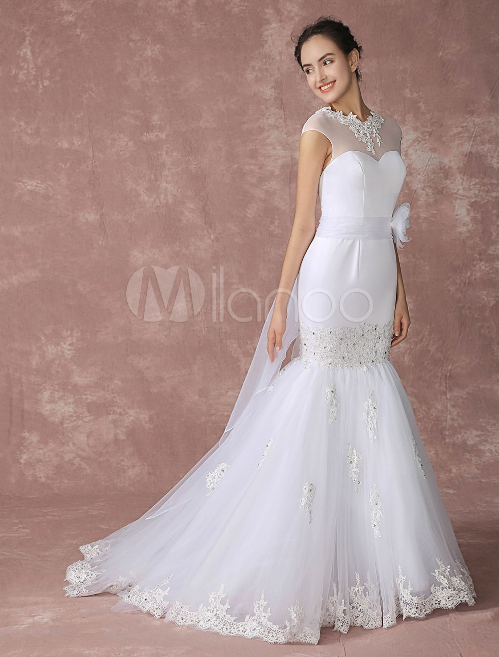 Buy Lace Wedding Dress Mermaid Court Chapel Train Bridal Gown Illusion Back Lace Applique Beading Tulle Bridal Dress With Panel Train Milanoo for $252.89 in Milanoo store