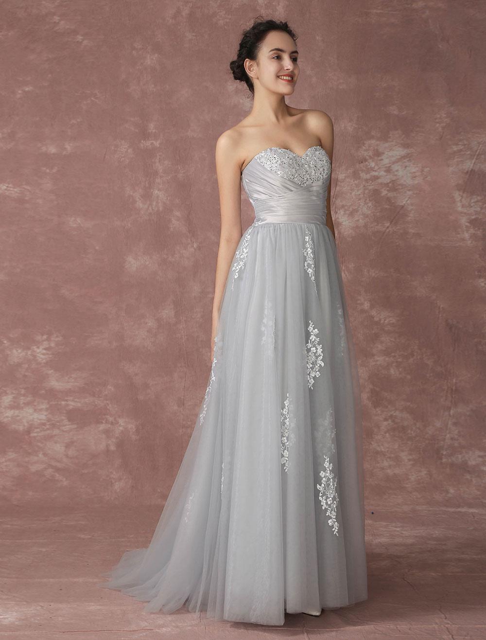 vestido de novia gris