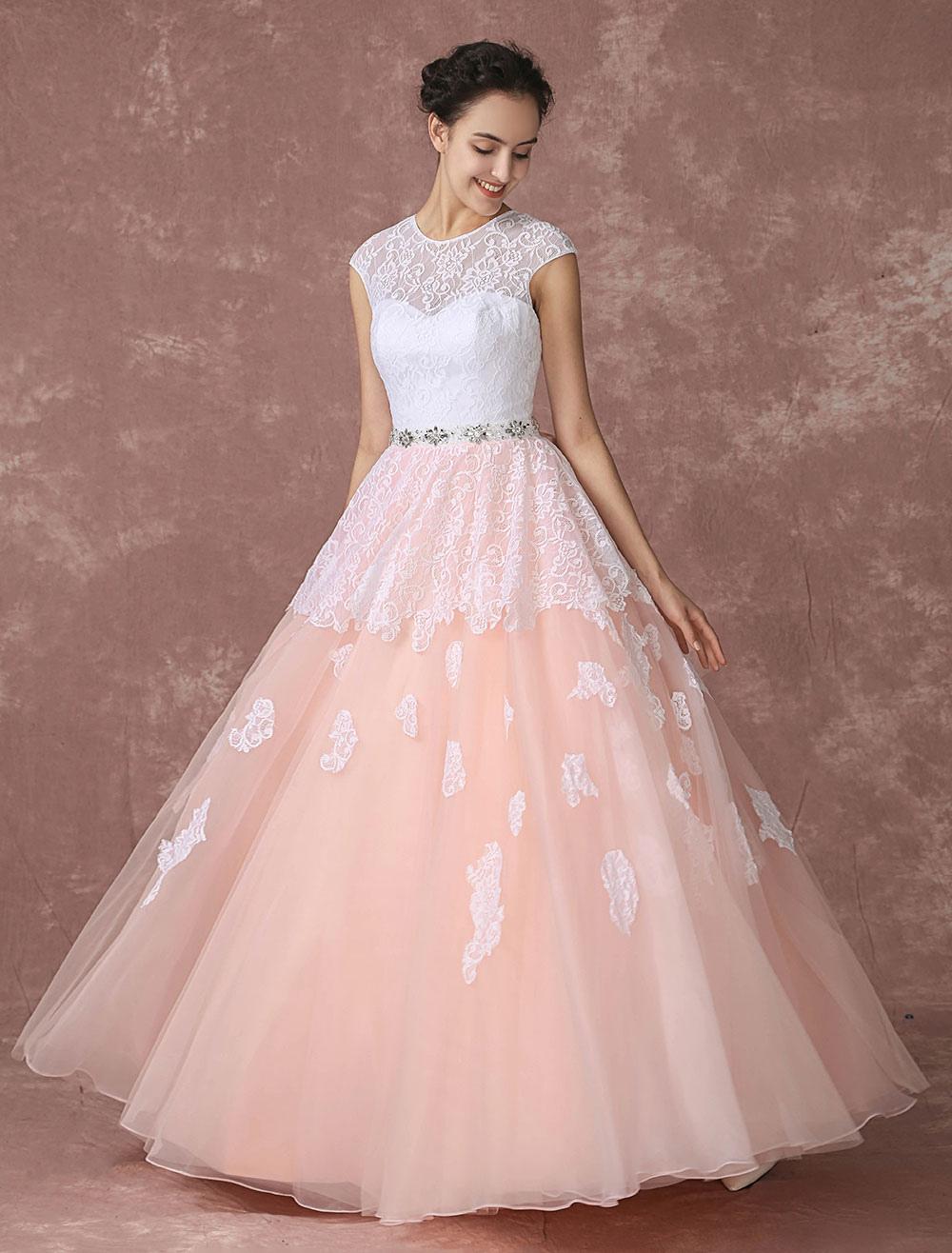 Vestido de novia rosa de línea A hasta el suelo sin tirantes con ...