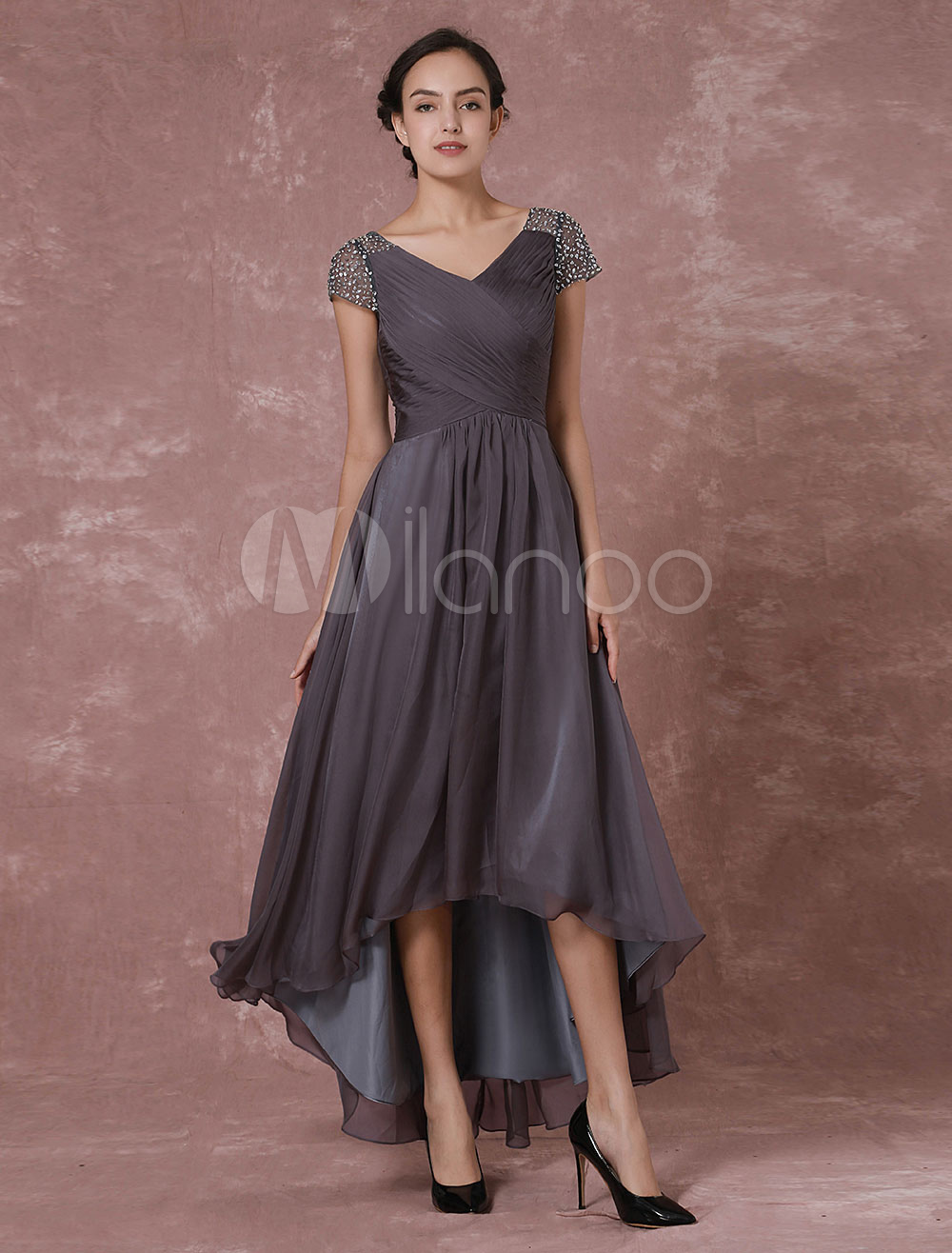 Chiffon Maxi Evening Dress Grey High Low Beading Backless V Neck Pleated Party Dress Wedding Guest Dress Wedding Guest Dress Milanoo Com,Casual Plus Size Wedding Dresses With Color