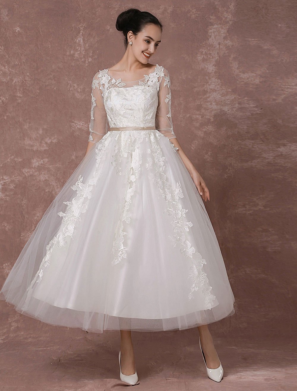 Summer wedding dresses 2018 vintage short bridal gown for Summer wedding dresses with sleeves