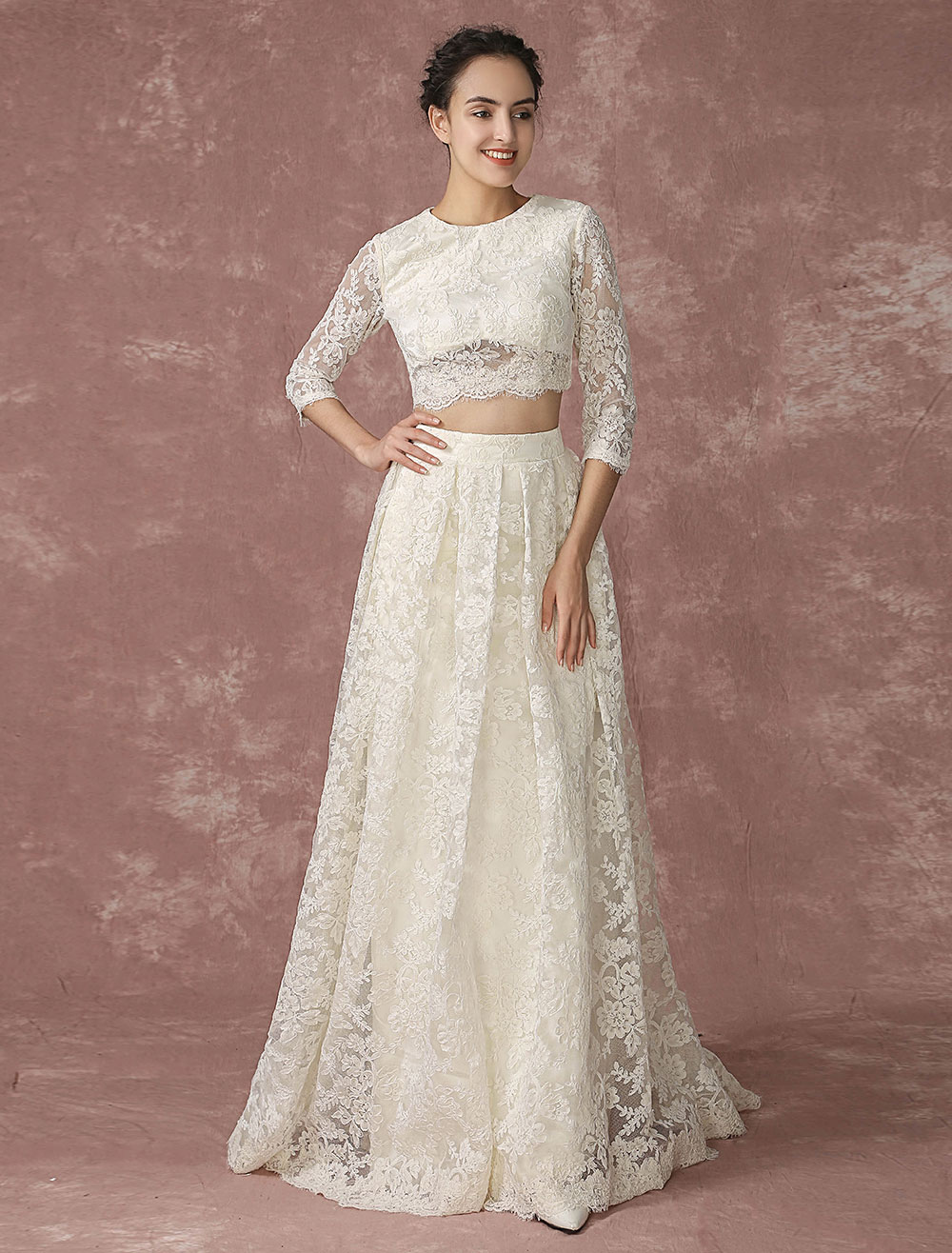 Crop Top Lace Wedding Dress Back Design Pockets Bridal Gown Quarter ...