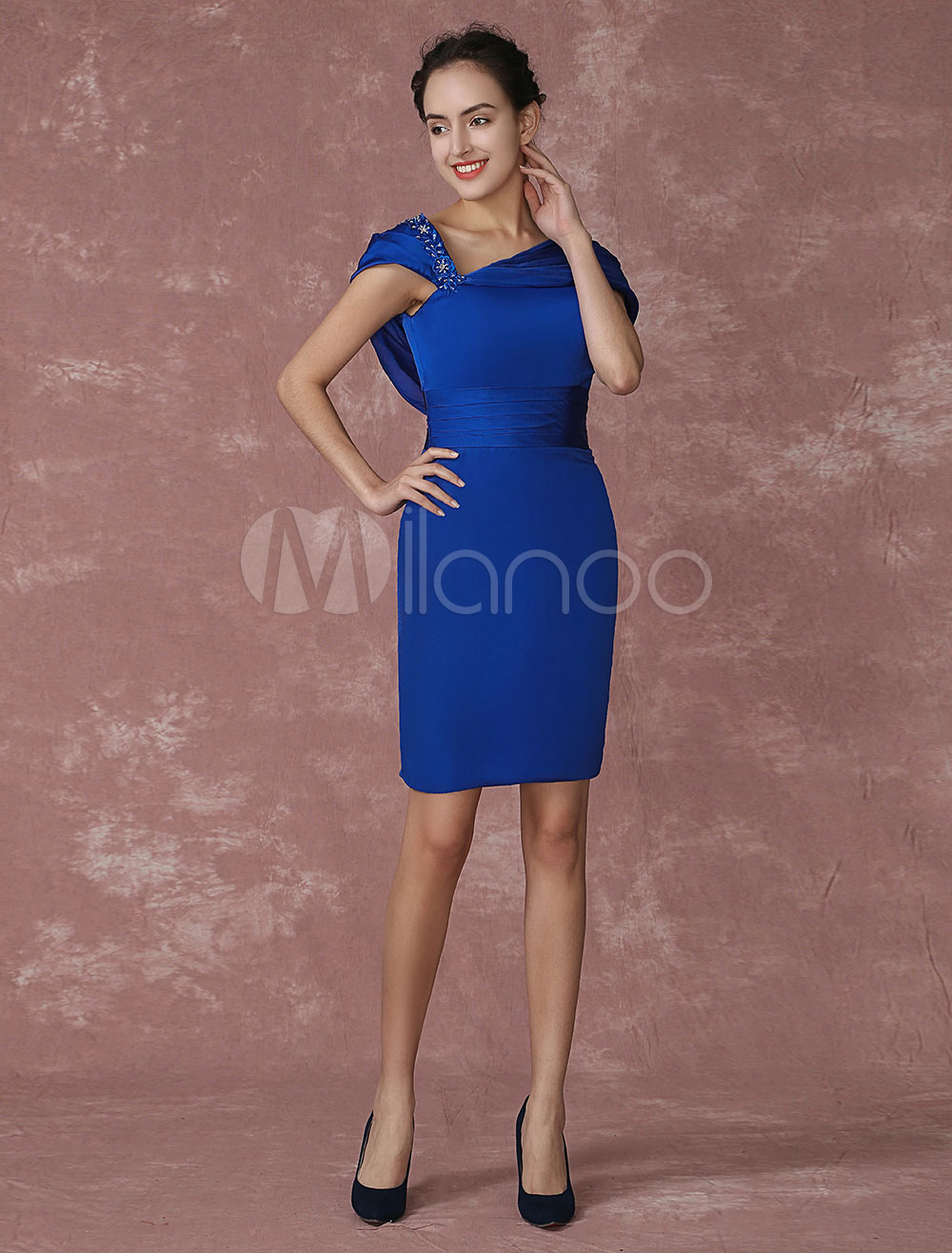 Buy Royal Blue Cocktail Dress Sheath Short Party Dress Pleats Beading Backless Occasion Dress Wedding Guest Dress for $115.89 in Milanoo store