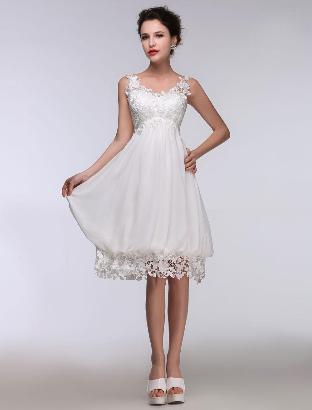 04972cb09233 Short Wedding Dress White Lace Chiffon Sweetheart Summer Wedding ...